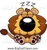 Big Cat Cartoon Vector Clipart of a Cute Lion Sitting and Dozing by Cory Thoman