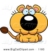 Big Cat Cartoon Vector Clipart of a Cute Lioness Cub by Cory Thoman