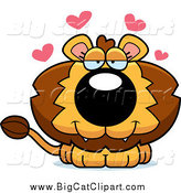 Big Cat Cartoon Vector Clipart of a Cute Loving Male Lion by Cory Thoman
