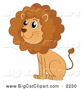 Big Cat Cartoon Vector Clipart of a Cute Male Lion Sitting by Graphics RF