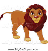 Big Cat Cartoon Vector Clipart of a Cute Male Lion Standing by Pushkin