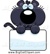 Big Cat Cartoon Vector Clipart of a Cute Panther over a Sign by Cory Thoman