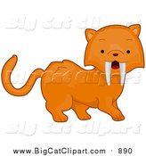 Big Cat Cartoon Vector Clipart of a Cute Sabertooth Tiger by BNP Design Studio