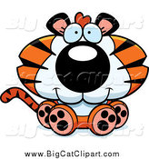 Big Cat Cartoon Vector Clipart of a Cute Sitting Tiger Cub by Cory Thoman