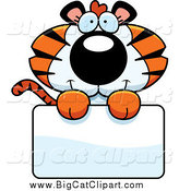 Big Cat Cartoon Vector Clipart of a Cute Tiger Cub over a Sign by Cory Thoman