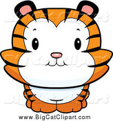 Big Cat Cartoon Vector Clipart of a Cute Tiger Cub Smiling by Cory Thoman