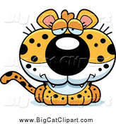 Big Cat Cartoon Vector Clipart of a Depressed Leopard Cub by Cory Thoman