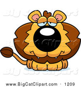 Big Cat Cartoon Vector Clipart of a Depressed Lion by Cory Thoman