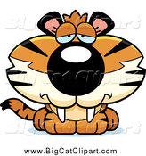 Big Cat Cartoon Vector Clipart of a Depressed Tiger Cub by Cory Thoman