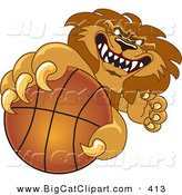Big Cat Cartoon Vector Clipart of a Determined Lion Character Mascot Grabbing a Basketball by Toons4Biz