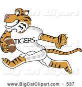 Big Cat Cartoon Vector Clipart of a Energetic Tiger Character School Mascot Playing Football by Toons4Biz