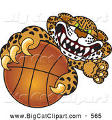 Big Cat Cartoon Vector Clipart of a Ferocious Cheetah, Jaguar or Leopard Character School Mascot Grabbing a Basketball by Toons4Biz