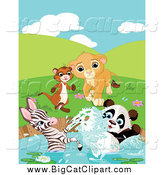 Big Cat Cartoon Vector Clipart of a Ferret, Lion, Zebra and Panda Playing at a Pond by Pushkin