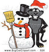 Big Cat Cartoon Vector Clipart of a Festive Black Jaguar Mascot Character with a Snowman by Toons4Biz