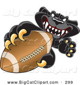 Big Cat Cartoon Vector Clipart of a Fierce Black Jaguar Mascot Character Grabbing a Football by Toons4Biz