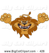 Big Cat Cartoon Vector Clipart of a Fierce Lion Character Mascot Lunging Forward by Toons4Biz