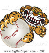Big Cat Cartoon Vector Clipart of a Friendly Cheetah, Jaguar or Leopard Character School Mascot Grabbing a Baseball by Toons4Biz