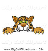 Big Cat Cartoon Vector Clipart of a Friendly Cheetah, Jaguar or Leopard Character School Mascot Looking over a Surface by Toons4Biz
