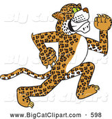 Big Cat Cartoon Vector Clipart of a Friendly Cheetah, Jaguar or Leopard Character School Mascot Running by Toons4Biz
