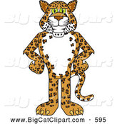Big Cat Cartoon Vector Clipart of a Friendly Cheetah, Jaguar or Leopard Character School Mascot with His Hands on His Hips by Toons4Biz