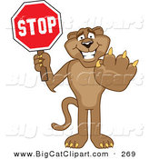 Big Cat Cartoon Vector Clipart of a Friendly Cougar Mascot Character Holding a Stop Sign by Toons4Biz
