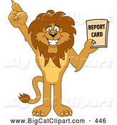 Big Cat Cartoon Vector Clipart of a Friendly Lion Character Mascot Holding a Good Report Card by Toons4Biz