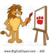 Big Cat Cartoon Vector Clipart of a Friendly Lion Character Mascot Painting by Toons4Biz