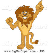 Big Cat Cartoon Vector Clipart of a Friendly Lion Character Mascot Pointing up by Toons4Biz