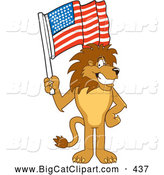 Big Cat Cartoon Vector Clipart of a Friendly Lion Character Mascot Waving an American Flag by Toons4Biz