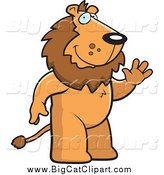 Big Cat Cartoon Vector Clipart of a Friendly Male Lion Standing and Waving by Cory Thoman