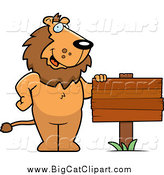 Big Cat Cartoon Vector Clipart of a Friendly Male Lion Standing by a Blank Wood Sign by Cory Thoman