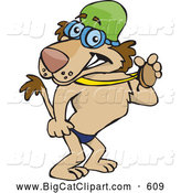 Big Cat Cartoon Vector Clipart of a Friendly Swimmer Lion Showing off His Medal by Dennis Holmes Designs