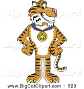 Big Cat Cartoon Vector Clipart of a Friendly Tiger Character School Mascot Wearing a Medal by Toons4Biz