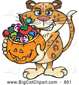 Big Cat Cartoon Vector Clipart of a Friendly Trick or Treating Leopard Holding a Pumpkin Basket Full of Halloween Candy by Dennis Holmes Designs