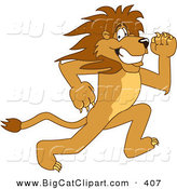 Big Cat Cartoon Vector Clipart of a Frightened Lion Character Mascot Running by Toons4Biz