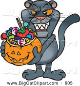 Big Cat Cartoon Vector Clipart of a Frightening Trick or Treating Panther Holding a Pumpkin Basket Full of Halloween Candy by Dennis Holmes Designs