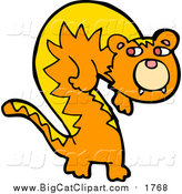 Big Cat Cartoon Vector Clipart of a Ginger Cat or Tiger by Lineartestpilot