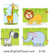 March 12nd, 2016: Big Cat Cartoon Vector Clipart of a Giraffe, Lion, Zebra and Elephant over Foliage by Hit Toon