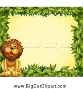 Big Cat Cartoon Vector Clipart of a Green Leaf Border and a Lion over Yellow by Graphics RF