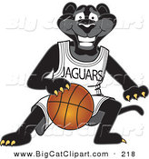 Big Cat Cartoon Vector Clipart of a Grinning Black Jaguar Mascot Character Dribbling a Basketball by Toons4Biz