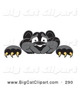 Big Cat Cartoon Vector Clipart of a Grinning Black Jaguar Mascot Character Looking over a Surface by Toons4Biz