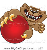 Big Cat Cartoon Vector Clipart of a Grinning Brown Cougar Mascot Character Grabbing a Ball by Toons4Biz