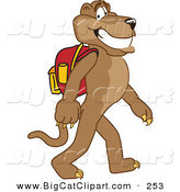 Big Cat Cartoon Vector Clipart of a Grinning Brown Cougar Mascot Character Walking to School by Toons4Biz