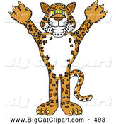 Big Cat Cartoon Vector Clipart of a Grinning Cheetah, Jaguar or Leopard Character School Mascot by Toons4Biz