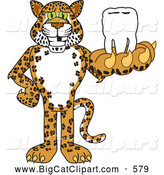 Big Cat Cartoon Vector Clipart of a Grinning Cheetah, Jaguar or Leopard Character School Mascot Holding a Tooth by Toons4Biz