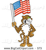 Big Cat Cartoon Vector Clipart of a Grinning Cheetah, Jaguar or Leopard Character School Mascot Holding an American Flag by Toons4Biz