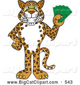 Big Cat Cartoon Vector Clipart of a Grinning Cheetah, Jaguar or Leopard Character School Mascot Holding Money by Toons4Biz