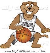 Big Cat Cartoon Vector Clipart of a Grinning Cougar Mascot Character Dribbling a Basketball by Toons4Biz