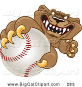 Big Cat Cartoon Vector Clipart of a Grinning Cougar Mascot Character Grabbing a Baseball by Toons4Biz