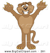 Big Cat Cartoon Vector Clipart of a Grinning Cougar Mascot Character Holding His Arms up by Toons4Biz